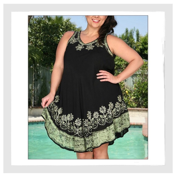 Plus Size Boho Embroidered Floral Batik Sun Dress NWT